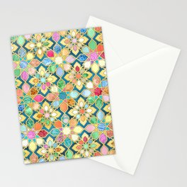 Gilded Moroccan Mosaic Tiles Stationery Cards
