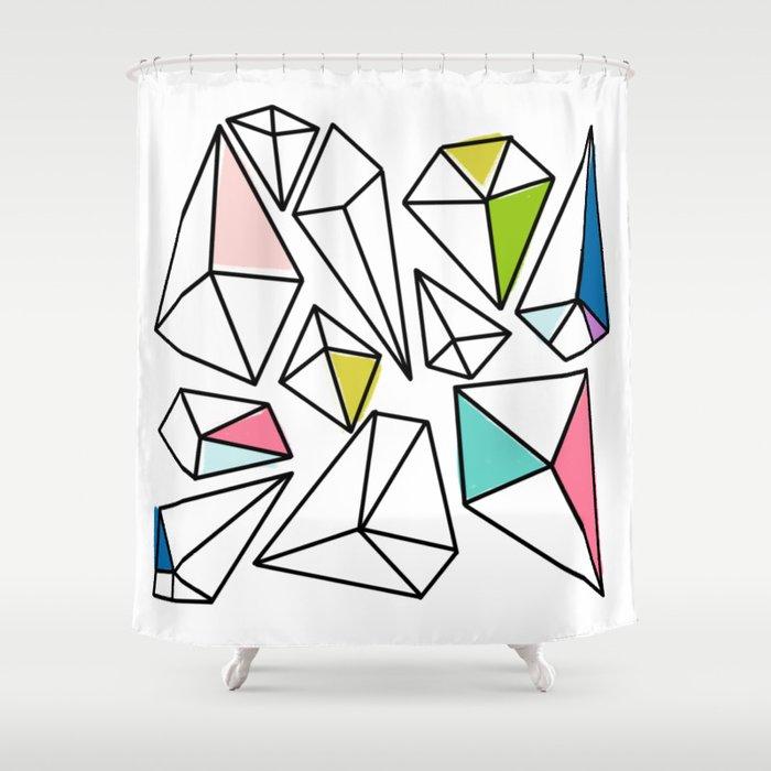 Shine Bright | Colorful Geo Gems Shower Curtain