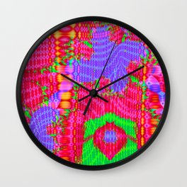 Funky colors and patterns Wall Clock