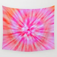 tie dye Wall Tapestries featuring TIE DYE by Nika