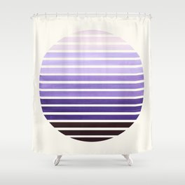 Purple Mid Century Modern Minimalist Scandinavian Colorful Stripes Geometric Pattern Round Circle Fr Shower Curtain