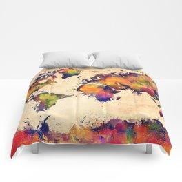 World map watercolor 3 Comforters