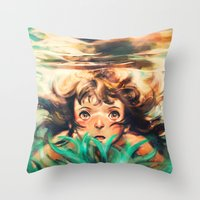 ponyo Throw Pillows featuring The River by Alice X. Zhang