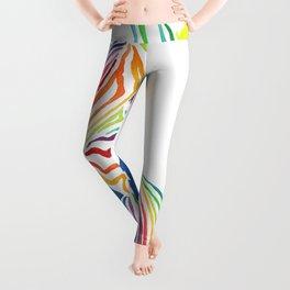 Watercolor Rainbow Zebra in Bold Leggings