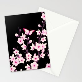 Cherry Blossoms Pink Black Stationery Cards