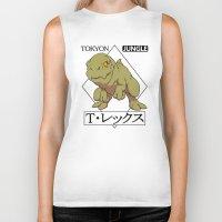 t rex Biker Tanks featuring T-rex by tokyon