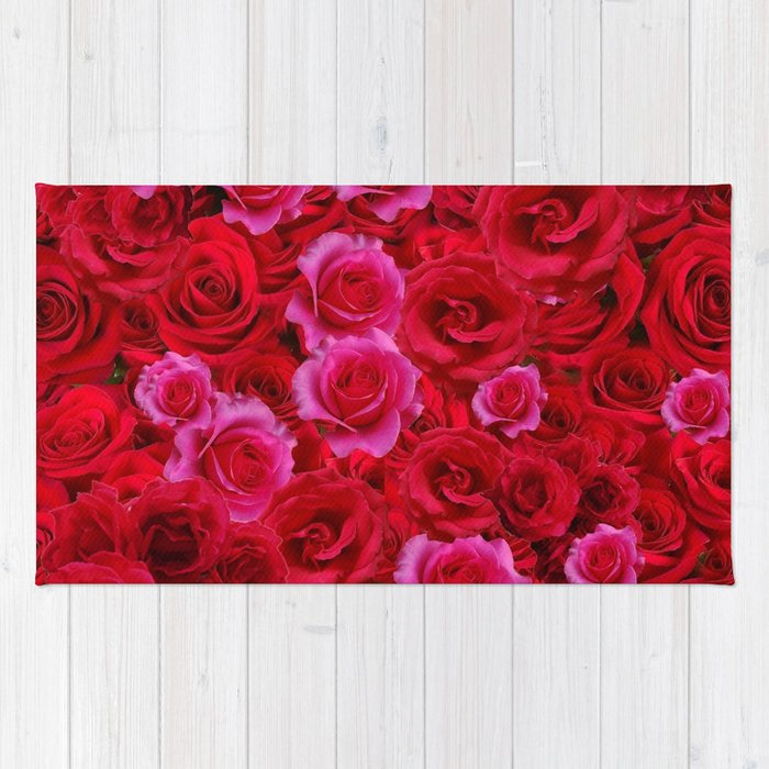 Nature Art Of Bed Red Pink Rose Flowers Rug