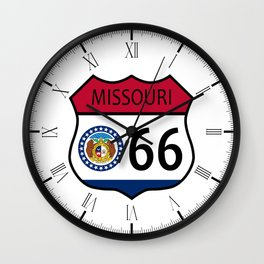 Route 66 Missouri Sign and Flag Wall Clock