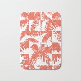 Palm Leaf Pattern Orange Bath Mat