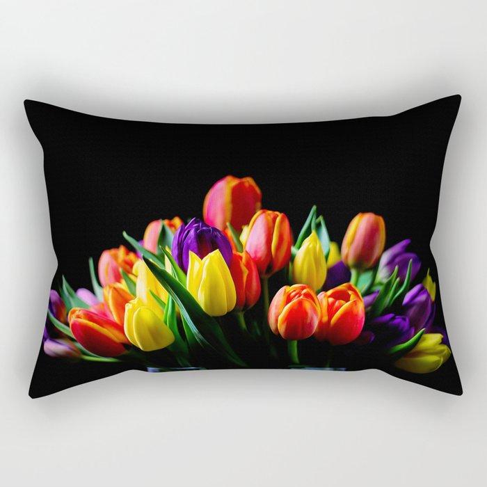 Colorful Tulips Rectangular Pillow