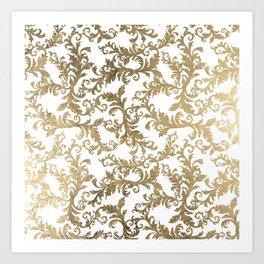 Vintage faux gold elegant floral damask Kunstdrucke