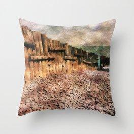 Sea Defence Groynes - watercolour effect. Throw Pillow