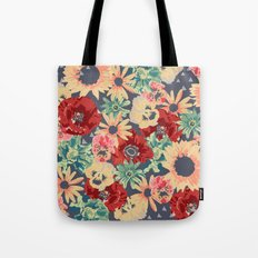 SEPIA FLOWERS -poppies, pansies & sunflowers- Tote Bag
