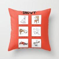 meme Throw Pillows featuring Snowy Meme by Rafstar Designs