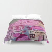 macaroons Duvet Covers featuring Pink Macaroons  by drskippyart