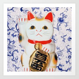 MANEKINEKO CAT PINK PATTERN Art Print
