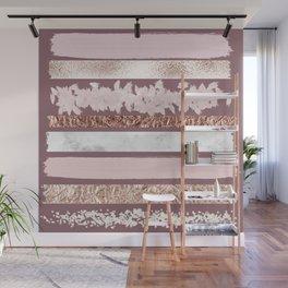 Girly Pink Purple Glitter Rose Gold Brushstrokes Wall Mural
