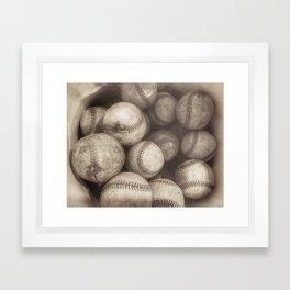 Bucket of Old Baseballs in Sepia Framed Art Print