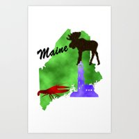 maine Art Prints featuring Maine by Nova Jarvis