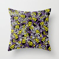 skeletor Throw Pillows featuring Skeletor Antlers by Iamzombieteeth Clothing