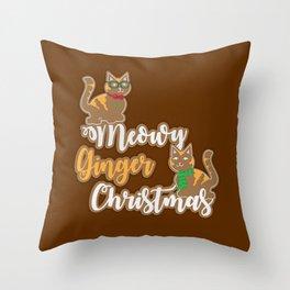 Meowy Ginger Christmas Throw Pillow