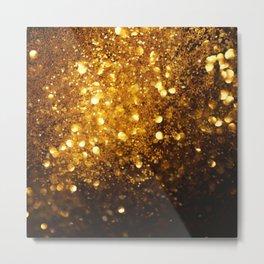 Gold glitter modern bokeh style Metal Print