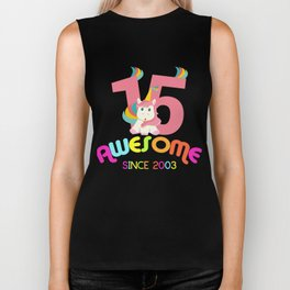 Awesome Since 2003 Unicorn 15th Birthday Anniversaries Biker Tank