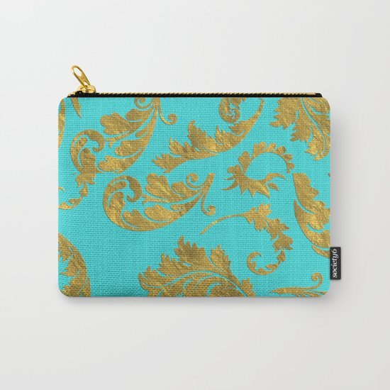 Queenlike on aqua - Gold glitter ornaments on aqua backround- pattern Carry-All Pouch