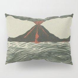 Volcano Woodcut Pillow Sham