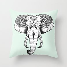 Elephant Tattooed Throw Pillow