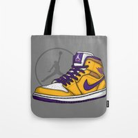 lakers Tote Bags featuring Jordan 1 mid (LA Lakers) by Pancho the Macho