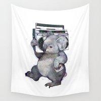 koala Wall Tapestries featuring koala  by Laura Graves