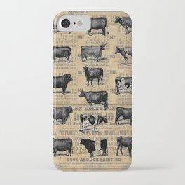 Vintage 1896 Cows Study on Antique Lancaster County Almanac iPhone Case