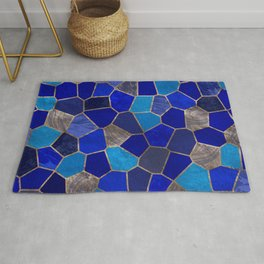 Mosaic Pattern - Golden Blues Rug