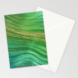 Green Mermaid Glamour Marble With Gold Veins Stationery Cards