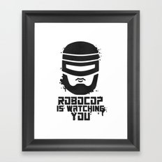 Robocop Is Watching You Stencil Framed Art Print
