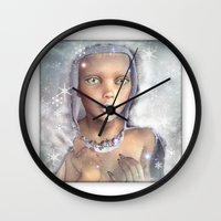 "cassia beck Wall Clocks featuring ""Froza"" by MiaSnow and Trindolyn Beck by Trindolyn Beck"