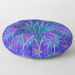 Lotus 2 - blue and purple Floor Pillow