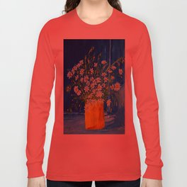 Daisies by the blue wall  Long Sleeve T-shirt