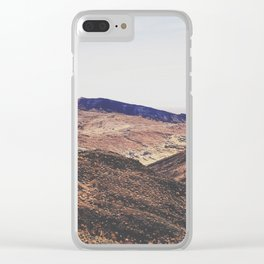 desert and mountain with blue sky in summer Clear iPhone Case