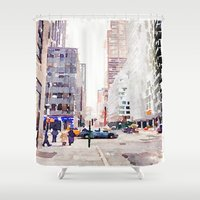 nyc Shower Curtains featuring NYC by Christine Workman