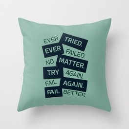 Lab No. 4 Ever Tried Samuel Beckett Motivational Quotes Throw Pillow