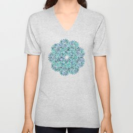 Mandala Succulent Blue Green Unisex V-Neck