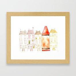 Crayon and row houses Framed Art Print