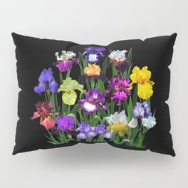 Iris Garden - on black Pillow Sham