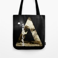 bastille Tote Bags featuring Bastille - Skulls by Thafrayer