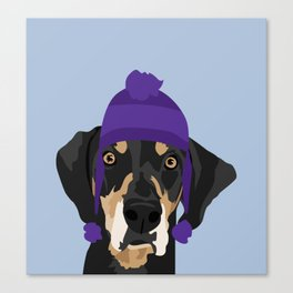 Purple hat Black and Tan Coonhound Canvas Print
