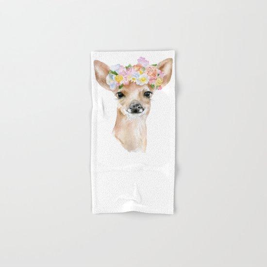 Deer Fawn Floral Watercolor Hand & Bath Towel