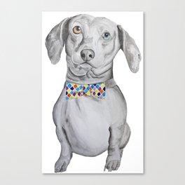 Dapper Dachshund Watercolor Dog Canvas Print