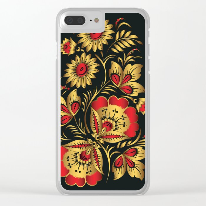 Golden russian folk Clear iPhone Case